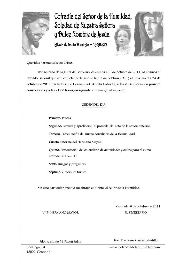 Carta cabildo inicio de curso 2011