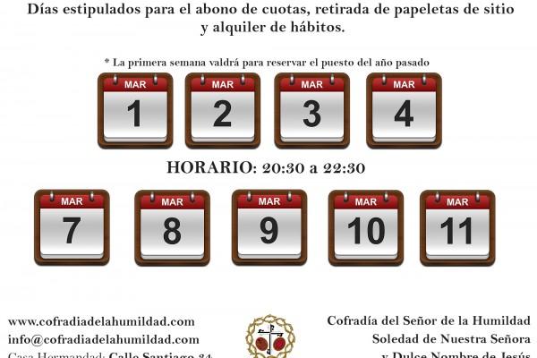 Calendario Tarjetas de sitio 2016
