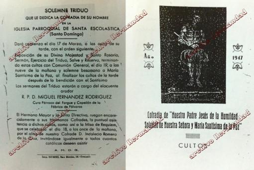 Diptico anunciador de los Cultos de la Cofradía en el año 1947
