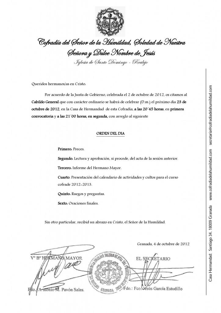 Carta cabildo inicio 2012/2013