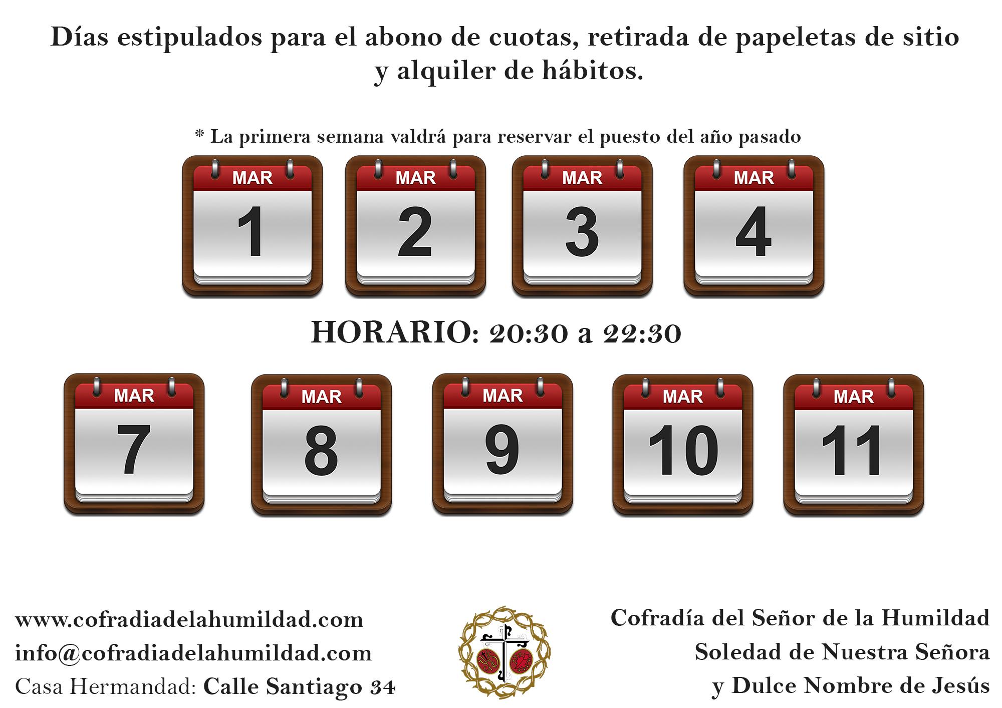 Calendario para la retirada de papeletas de sitio
