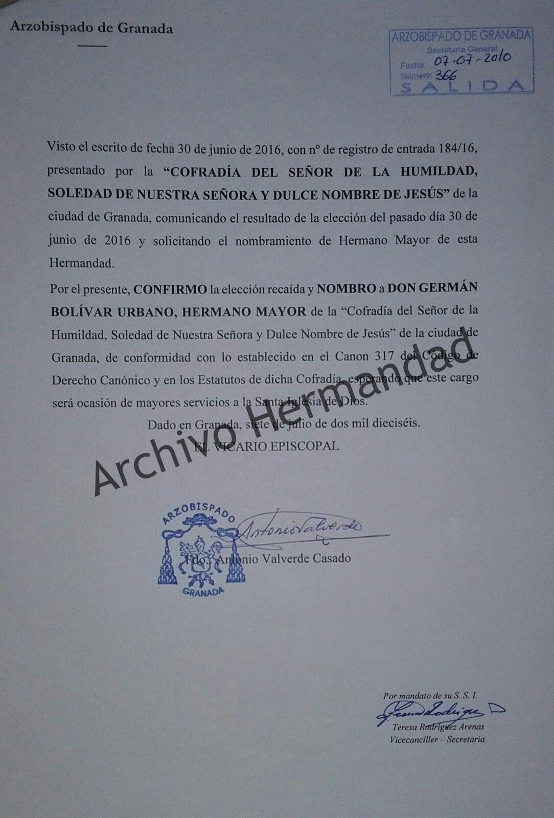 Ratificación de D. Germán Bolívar Urbano como Hermano Mayor